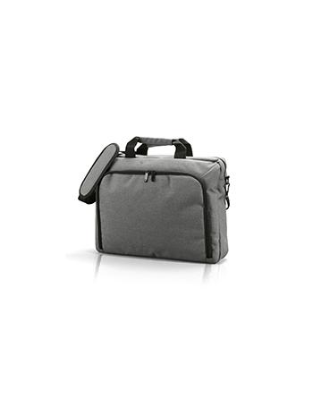 Borsa Porta Computer colore grigio per regalistica e promozioni aziendali con logo personalizzato a ricamo o stampa.