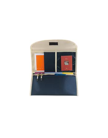 Porta Documenti, porta tessere, porta biglietti, colore blu navy e beige personalizzabile con etichetta.