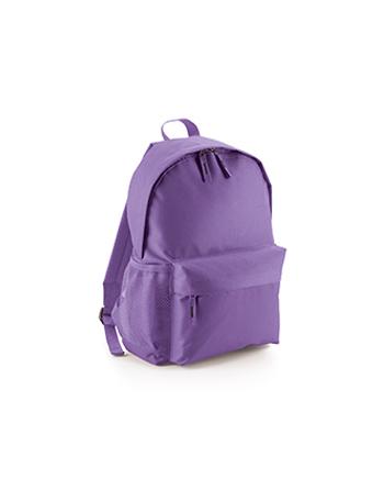 Zaino promozionale classico colore viola, tasca davanti e laterale e spallacci imbottiti, personalizzabil