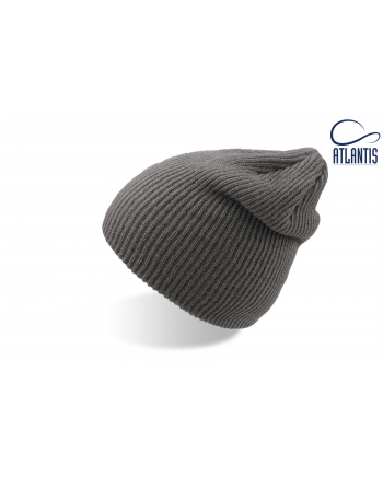 Double use beanie with cuff, colour grey with bespoke sew on patches or woven labels.