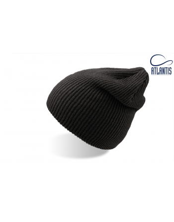 Double use beanie with cuff, colour light black with bespoke sew on patches or woven labels.