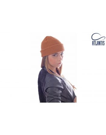 Double use beanie with cuff, colour light brown with bespoke sew on patches or woven labels.