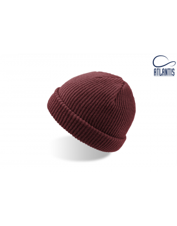 Double use beanie with cuff, colour burgundy with bespoke sew on patches or woven labels.