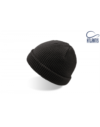 Double use beanie with cuff, colour black with bespoke sew on patches or woven labels.