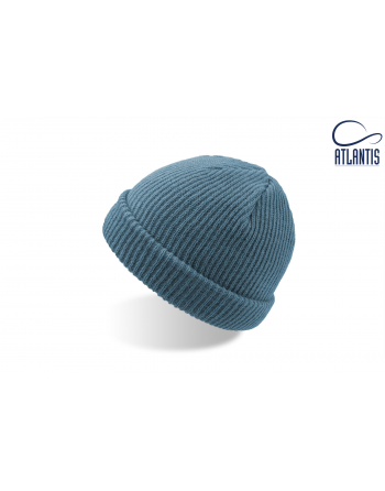 Double use beanie with cuff, colour turquiose with bespoke sew on patches or woven labels.