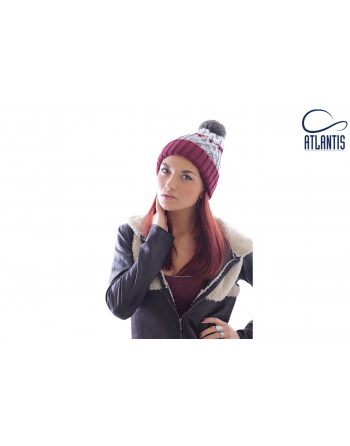 Italian style knitted beanie colour burgundy-grey, for fashion, companies promotions, with bespoke label