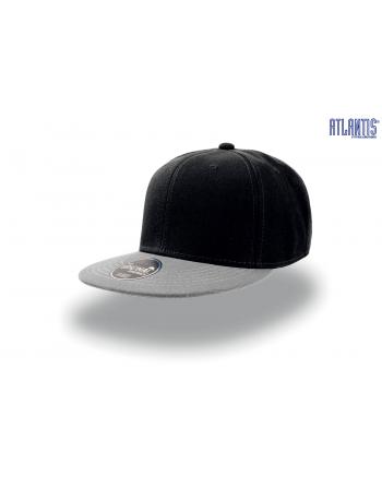 Cappello Snapback colore nero con visiera grigia, visiera piatta e cinturino dietro in PVC regolabile.