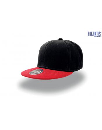 e67e65499d ... Cappello Snapback colore nero con visiera piatta colore rossa,  cinturino dietro in PVC regolabile.