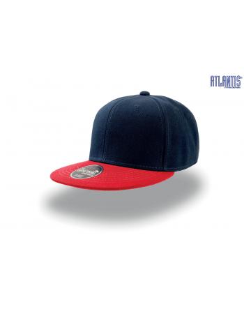 Cappello Snapback colore blu navy con visiera rossa piatta, e cinturino dietro in PVC regolabile.