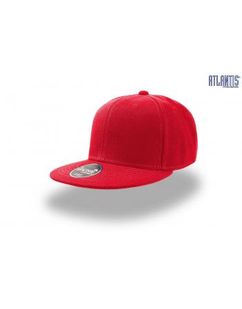 Cappello Snapback colore rosso con visiera piatta e cinturino dietro in PVC regolabile.