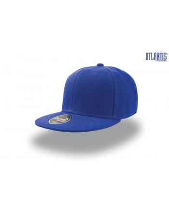 Cappello Snapback colore blu royal con visiera piatta e cinturino dietro in PVC regolabile.