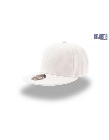 Cappello Snapback colore bianco con visiera piatta e cinturino dietro in PVC regolabile.