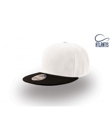 Cappello Snapback colore bianco con visiera nera piatta e cinturino dietro in PVC regolabile.