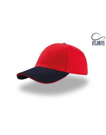 Roter Werbehute mit blauem Visier und individueller Stickerei für Firmen.