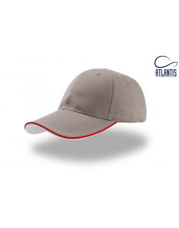 Casquette gris avec visière et profils contrastés bicolores, fermeture velcro au dos et broderie personnalisée.