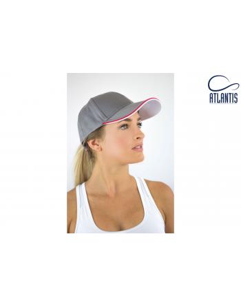 Grau Kappe mit Visier und Profilen in zweifarbigem Kontrast, Klettverschluss hinten und Stickerei für Firmen und Werbung.