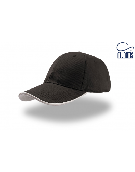 Berretto Art. Zoom Piping colore nero, con piping su visiera colore bianco-grigio, personalizzato col tuo logo.
