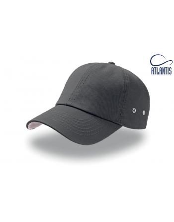 Cappello grigio scuro in cotone lavato morbido non rinforzato, aderente in testa, visiera, chiusura con fibbia in metallo.