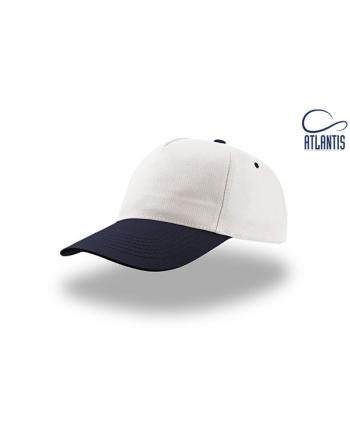Gorro unisex promocional, color blanco/azul, de algodón ligero personalizada con bordados, para sport, empresas y publicidad.