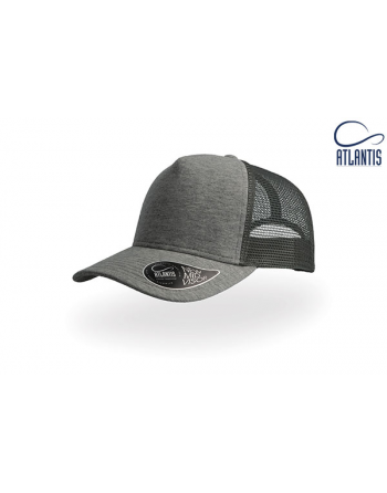 Bespoke jersey trucker cap colour dark grey with custom sew on patch and embroidery.