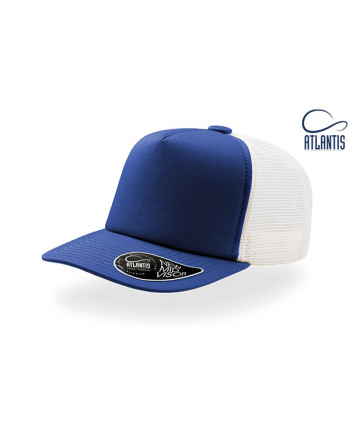 Bespoke trucker cap colour royal/white with sew on patch/badge for sportswear and streewear.