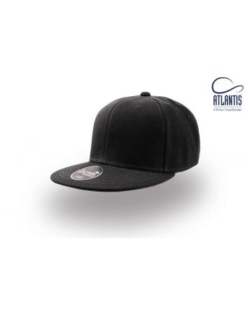 Casquette Snapback noir avec visière plate et logo personnalisè avec broderie 3D ou ecusson cousu.