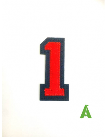 Embroidered number 1 stitched on felt, red-blue color, to be sewn or thermo-adhesive on clothing.