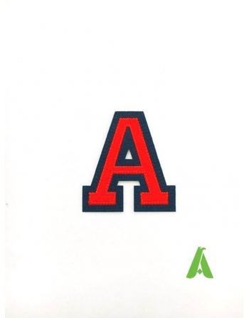 Letter A red/blue color, height 5 cm, in felt fabric, ready to sew or heat apply on clothing and textile.