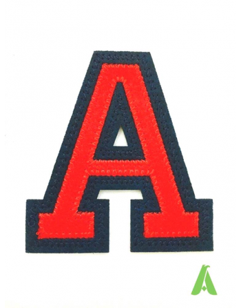Embroidered letter A to sew or apply on clothing, red-blue color, for sweatshirts, sports uniforms, textiles.