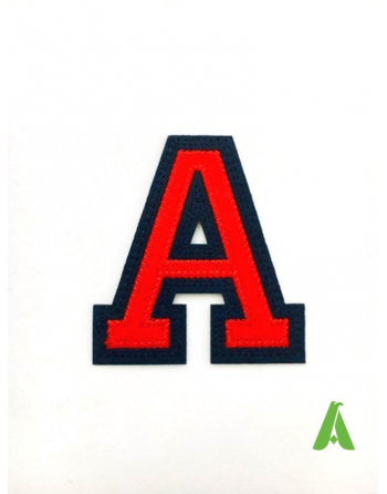 Letter A embroidered for clothing, red-blue color applicable with thermoadhesive or sewing, on sweatshirt, uniforms, t-shirts.