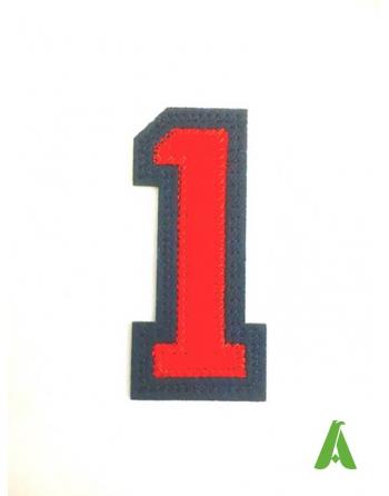 Numero 1 da cucire e termoapplicare, colore rossoblu, cm 7, ricamato su pannolenci-feltro.