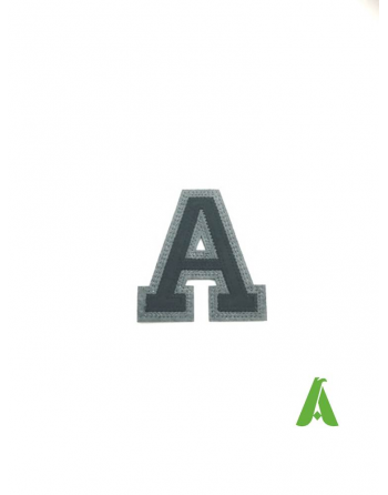 Letter A embroidered on felt, black / gray, thermo-adhesive and sewing on textiles, clothing, hats.