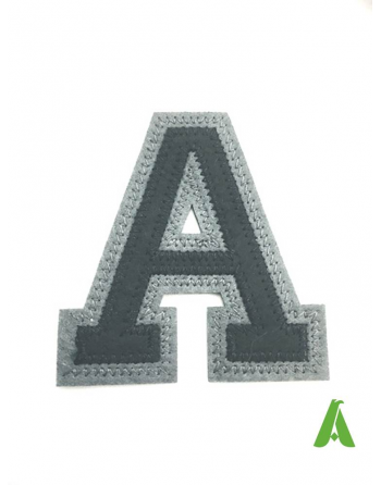Embroidered letter A on black/gray felt, for written & texts, thermo-adhesive and sewing sportswear and promotional clothing.