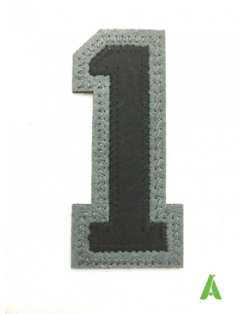 Number 1 to sew on clothing, black-grey color, ideal also to be heat-applied.