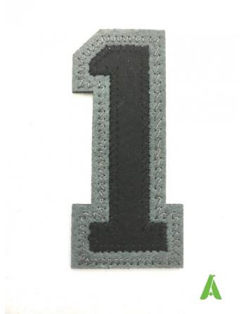 Numero 1 in stoffa, ricamato di colore Nero/Grigio, con termoadesivo e da cucire, per abbigliamento e tessile.