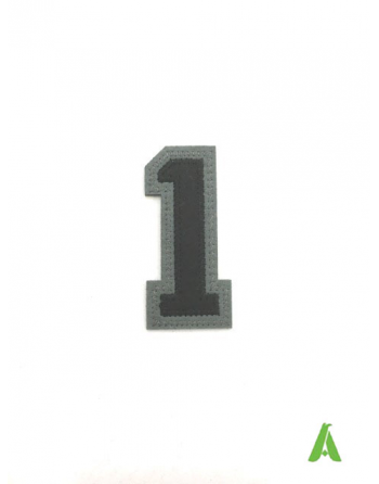 Number 1 embroidered on felt fabric, to be applied on clothing with thermoadhesive and by stitching.