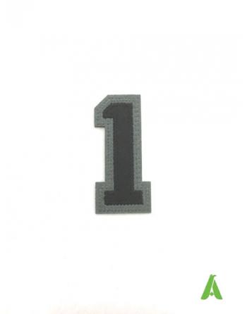 Nummer 1 auf Filz gestickt, zum Aufnähen und Aufkleben von Kleidung mit Thermoadhäsiv.