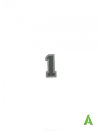 Numero 1 colore Nero/Grigio termoapplicabile e da cucire su tessile abbigliamento, altezza cm 5.