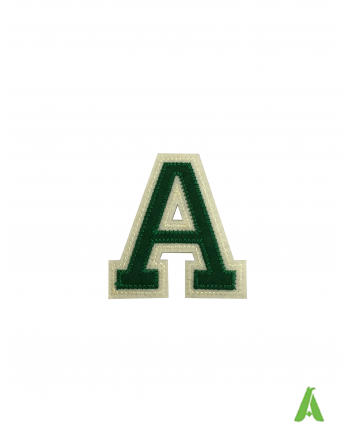 Felt embroidered letter A, height 7 cm, green-beige color, thermoadhesive and sewing on clothing and caps.