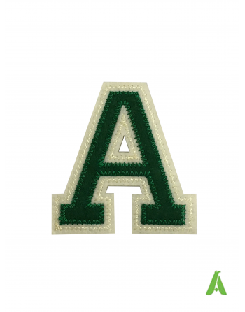 Embroidered letter A for clothing, on felt fabric height 10 cm, green-beige color, thermoadhesive and sewing.