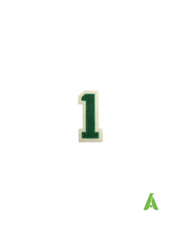 Número 1 bordado, color verde-beige, para ser cosido o termo-aplicado en sudaderas, ropa y gorras.