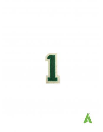 Nummer 1 gestickt, grün-beige Farbe, zum Aufnähen oder Aufkleben auf Sweatshirts, Kleidung, Mützen, caps.