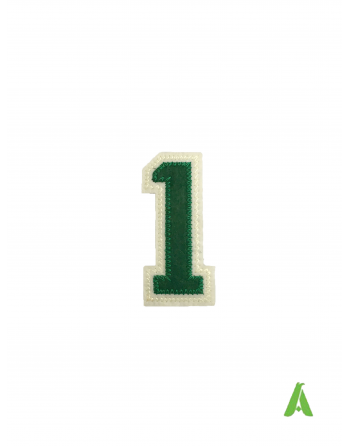Stitched embroidered number 1, green-beige color, to be sewn or thermo-applied on sweatshirts, clothing and caps.