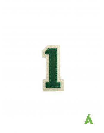 Nummer 1 gestickt, cm 7, grün-beige Farbe, zum nähen oder kleben auf Caps, Mützen, Sweatshirts, Kleidung.