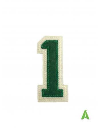 Embroidered number 1 for sweatshirts, on felt with thermoadhesive, ready to sew, for clothing, sport, and promotional.