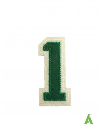 Número 1 bordado, color verde-beige, para ser cosido o thermo-aplicado en sudaderas, ropa y gorras.