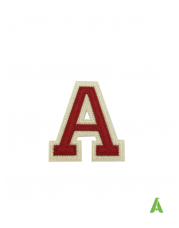 """Embroidered alphabet letter """"A"""" in red-beige color on felt, 7 cm, thermoadhesive and sewing on caps and clothing."""