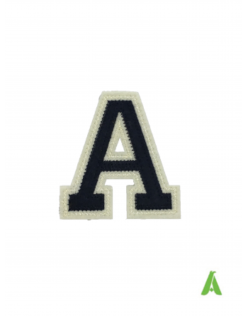 """Alphabet stitched letter""""A""""dark blue/beige on felt fabric, for sweatshirts, jackets, textiles, ready to sew or heat-applied."""