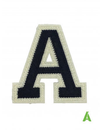 """Alphabet embroidered letter """"A"""" dark blue/beige felt fabric, for sweatshirts, jackets, textiles, ready to sew or heat-applied."""