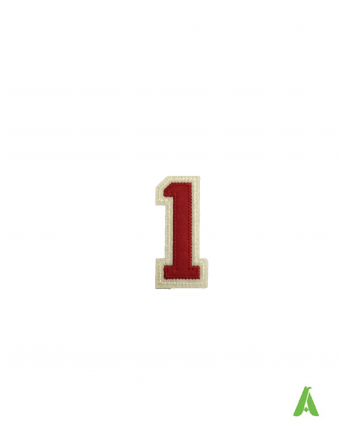 """Number """"1"""" to sew on caps and clothing, embroidered on red beige felt fabric, with heat adhesive for heat presses."""